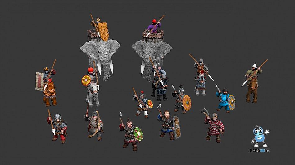 3d персонажи для игры Battle Line