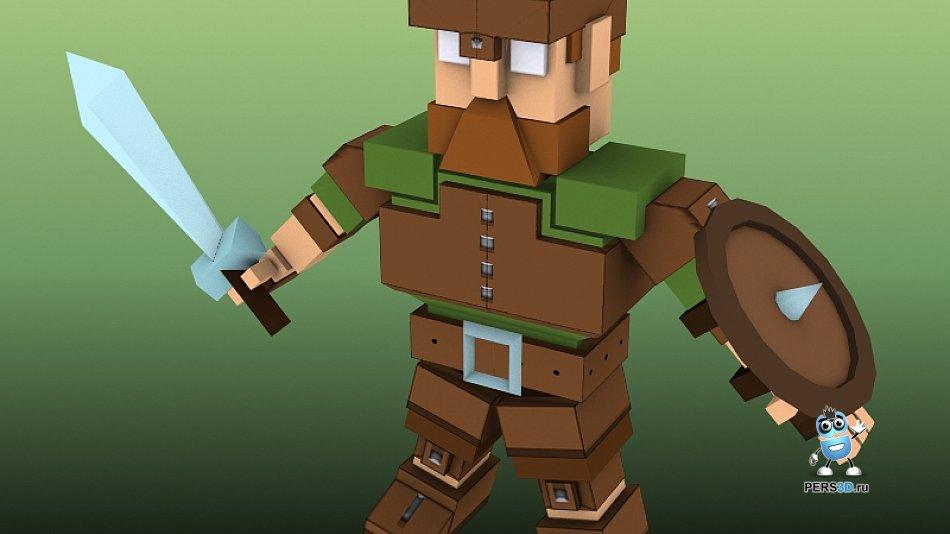 кубический персонаж для игры CuteSword - броня 1