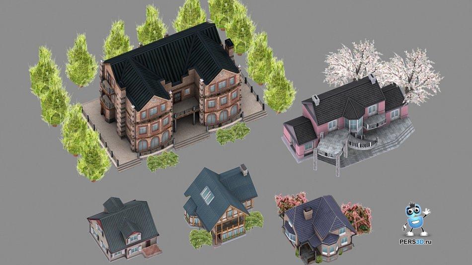 Lowpoly 3D модели домов для компьютерной игры 1