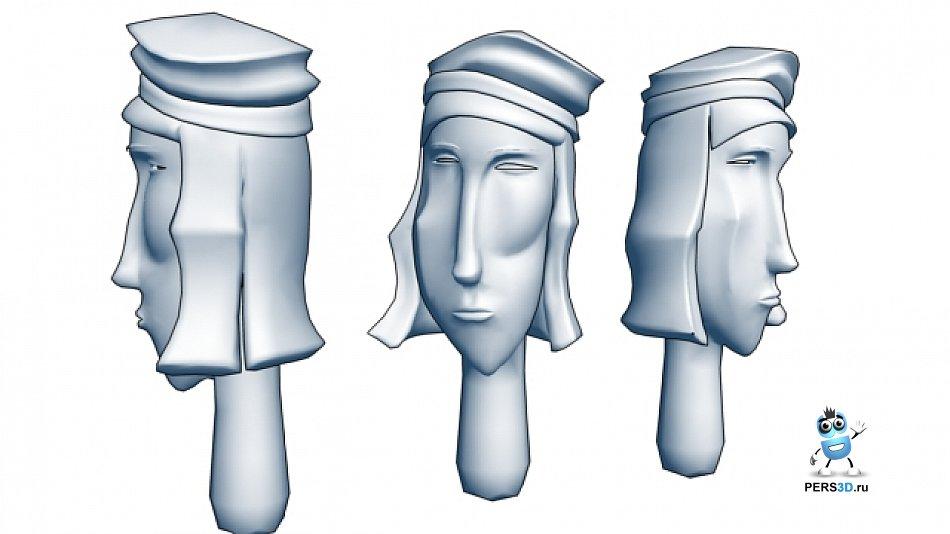 3d модель абстрактной головы
