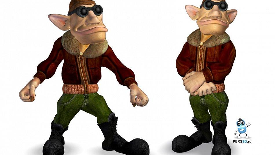 Highpoly персонаж гоблин пилот