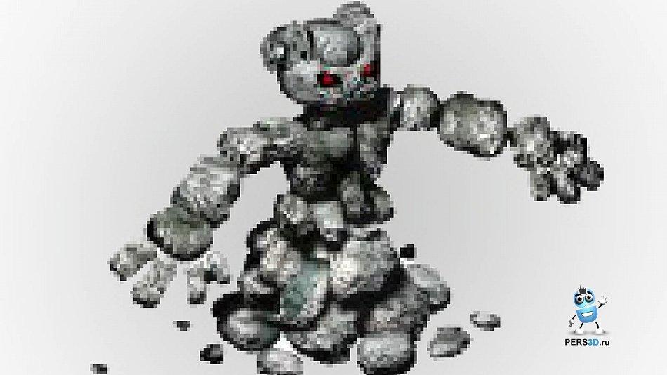 Каменный элементаль с анимацией (голем)