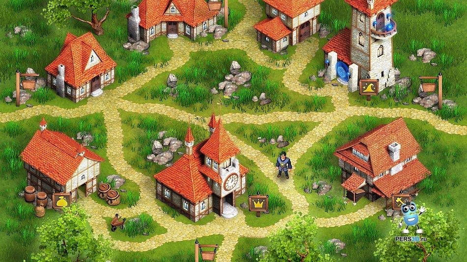 Локация для игры Shop Kingdom - деревня с домами