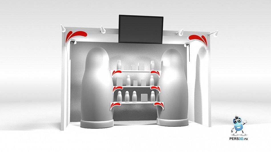 визуализация выставочного стенда с матрёшками 1