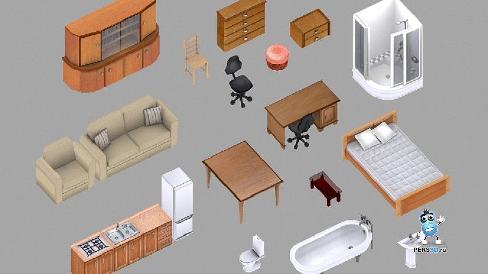 Набор мебели для компьютерной игры 1
