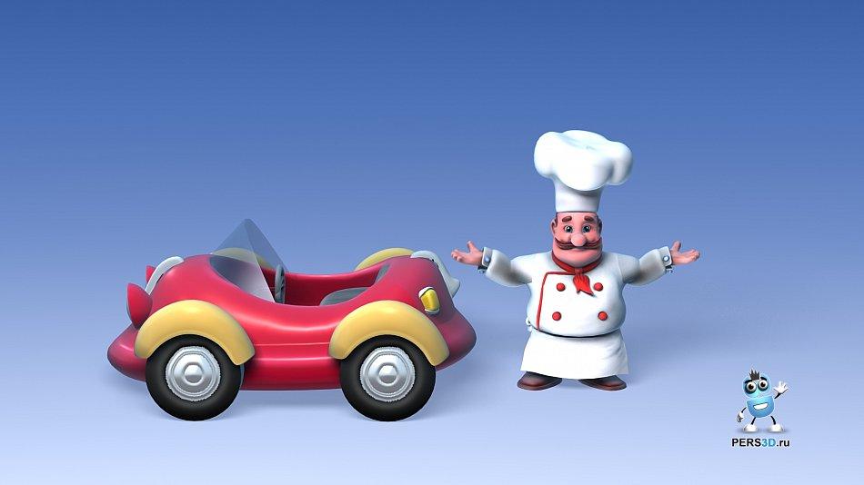 3d модель повара для рекламы айвара