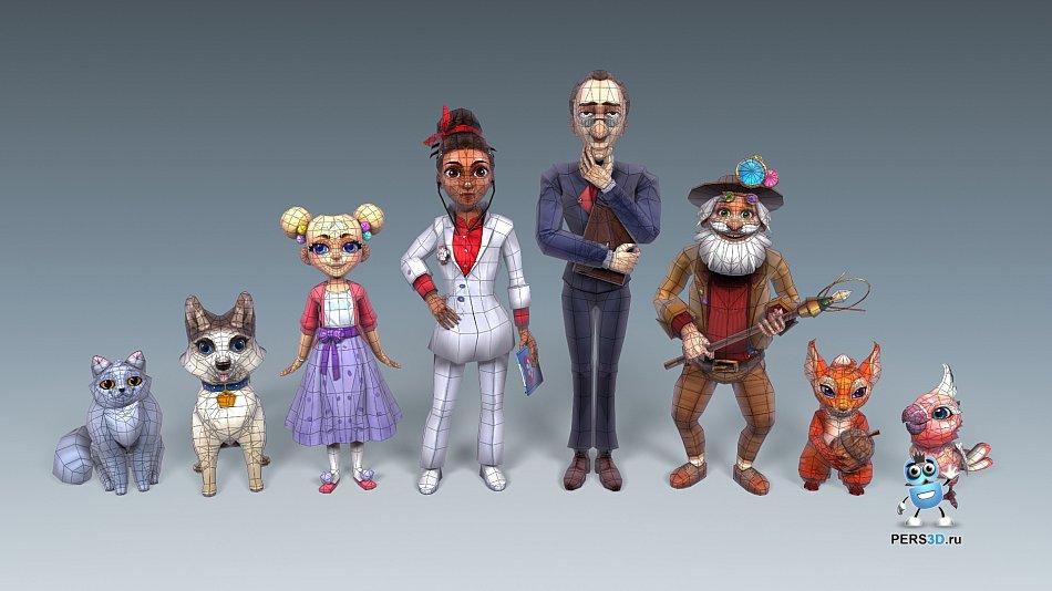 лоуполи модель персонажа от студии аутсорсинга PERS